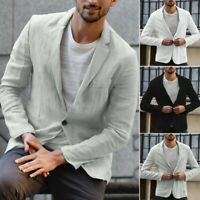 Men's Slim Fit Linen Blend Pocket Solid Long Sleeve Suits Blazer Jacket Outwear