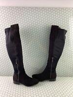 ALDO Black Suede/Fabric Round Toe Side Zip Knee High Boots Women's Size 7.5