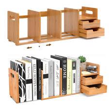 Bambus Standregal Bücherregal Tischorganizer Schreibtisch 2 Schubladen Officebox