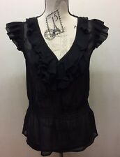 H&M Black Chiffon Women Blouse Sleeveless Ruffle Sz 6 Sexy V-Neck