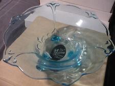 Duchess 3 Footed Fleur de Lis Bowl Tiara Exclusives Glass Aqua Blue w/ Orig Box