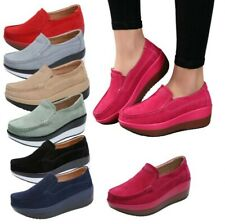 Women's Platform Slip On Loafers Casual Shoes Ladies Wedge Creepers College B