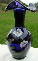 "Fenton Royal Purple Hand Painted  ""Connoisseur Collection 2003"" LE Vase 9.5""H"