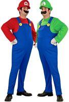 New Mens Super Mario Brothers Luigi Bros Nintendo Fancy Dress Costume All Sizes