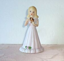 Enesco Growing Up Girls Birthday Age 9 Blonde Lilac Gown Hand Painted Porcelain