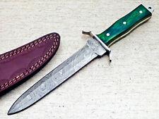 """CUSTOM DAMASCUS STEEL 11."""" HANDMADE FULL TANG DAGGER KNIFE - HARD WOOD - TM-7745"""