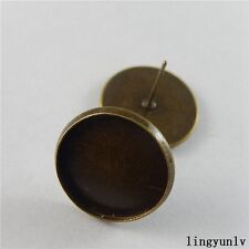 60 pcs Antique Bronze Round 16mm Cameo Base Earring Stud Craft Findings