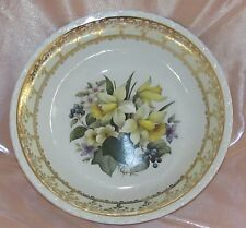 Joli saladier porcelaine Limoges décor floral jonquilles