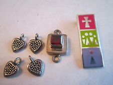 "6 STERLING SILVER PENDANTS & CHARMS - ASSORTED - 3/8"" TO 1 1/4"" -  BOX OFC-2"