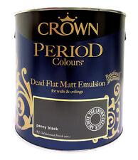 Crown Period Colours Flat Matt Emulsion Breatheasy Paint - Penny Black - 2.5L