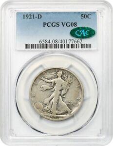 1921-D 50c PCGS/CAC VG-08 - Key Date - Walking Liberty Half Dollar - Key Date