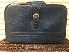 Retro Suitcase Luggage Bag Overnight Vintage Original Blue 1960s 1970s travel