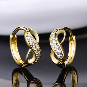 18k Gold Filled Women Sapphire Crystal Unique Infinity Wedding Hoop Earrings