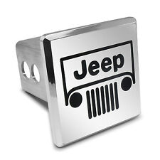 Jeep Grill Engraved Billet Aluminum Square Tow Hitch Cover