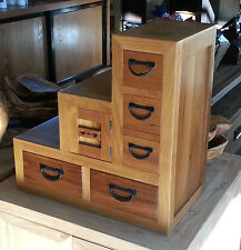 Teak Wood Step Chest, NEW, Japanese Kaidan Tansu (STS-1