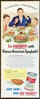 1952 Franco-American Spaghetti PRINT AD For a Hearty Dinner A Sure Praise Winner