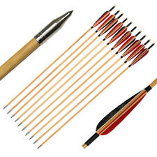 12pcs Archery Wooden Arrow Handmade Natural Turkey Feather Hunting Shooting