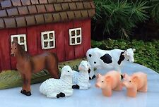 Miniature Dollhouse FAIRY GARDEN ~ Set / 6 Mini Farm Animals COW Horse SHEEP Pig