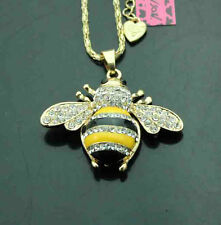 C522Y   Betsey Johnson crystal enamel cute yellow bee crystal Pendant Necklace