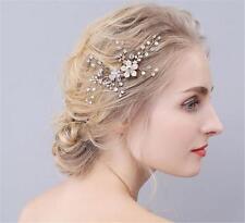 Estrás Tocado de Novia Peineta Oro Perlas Floral Vestido Accesorios para Cabello