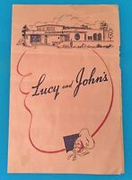 LUCY & JOHN'S VINTAGE RESTAURANT MENU 1940's 50's ONCE LOCATED RANCHO CUCAMONGA