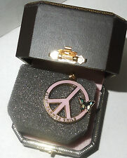 NIB Juicy Couture YJRU2619 Flower Child Pink Peace Sign Charm w/Butterfly 2008