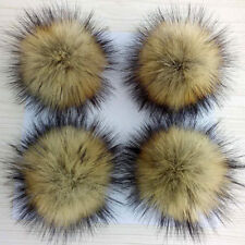 10cm Large Faux Raccoon Fur Pom Pom Ball with Press Button for Knitting Hat zh