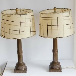 "2 Vintage Mid Century Lamps Fiberglass Lamp Shades Modern Brown Retro 27"" Set"