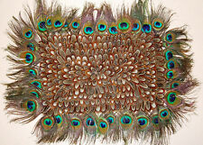 """FEATHER PLACEMAT - Natural Peacock & Almond 18"""" x 14""""; Decor/Kitchen/Table/Dish"""