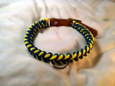 Paracord & leather Dog Collar  Hand made color  Blue & Yellow size 16 - 19 inch