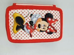 Minnie Mouse Walt Disney 3 Section Pencil Case Organizer With Colored Pencils