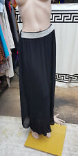 Sheer Black Pleated Long Maxi Silver Sequins Waistrband Lined Skirt Size S