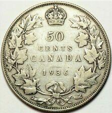 1936 Canada 50 cents KM#25a Silver #11594