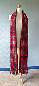 Red tartan scarf, long tartan scarf Royal Stewart tartan extra long plaid scarf