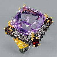 Fine Art22ct+ Natural Amethyst 925 Sterling Silver Ring Size 8.5/R89427