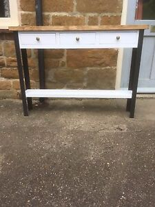 H80 W80 D30cm BESPOKE CONSOLE HALL TABLE 3 DRAWER CHUNKY PAINTED WARM OAK TOP