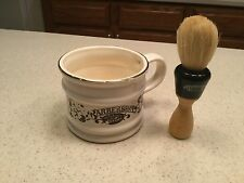 Old Fashioned Barber Shop Gold Rim Shaving Cup W/ Brush Used