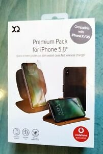 Xqisit iPhone X  XS 10W Fast Wireless Charger Pad Screen Protector & Wallet Case