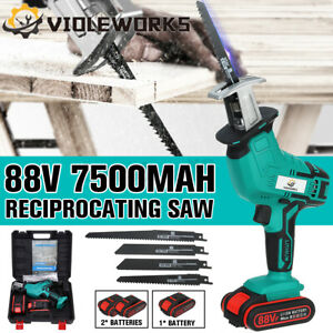 4 Blades 88V Cordless Electric Reciprocating Saw Garden Wood Cutting Pruning Saw