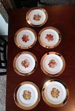 Set Of 7 Vintage Bavaria Foreign Fruit Plates Porcelain With Gold Rim