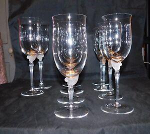 "10 Lenox glass  ALEXANDRA  Pattern  aka  ""Frosted Fern""  Stemware"