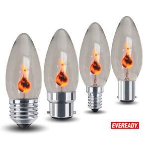 4x Eveready 3W FLICKER FLAME Candle Light Bulb HALLOWEEN Lamps E14 E27 B22 B15