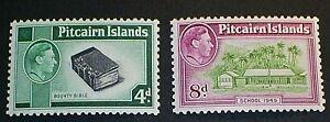 PITCAIRN ISLANDS SCOTT 5A-6A, 1951 KGVI  MLH OG F-VF SCV$32.00