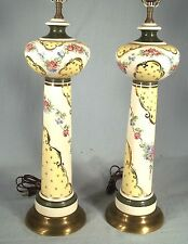 A FABULOUS PAIR OF TALL GLAZED PORCELAIN CERAMIC HAND DECORATED COLUMN LAMPS