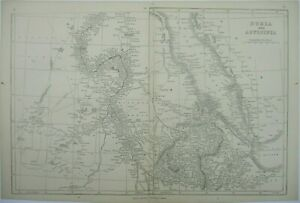 Antique map of Nubia and Abyssinia by J.W. Lowry 1852
