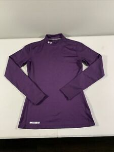 Women's Under Armour Cold Gear Long Sleeve Fitted Mock Neck Shirt Size L Purple