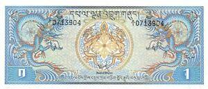 Bhutan  1  Ngultrum  ND. 1981  P 5  Series  A/1  Uncirculated Banknote E218S