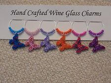 """""""BUTTERFLIES'' SET OF 6  HAND CRAFTED  drink markers"""