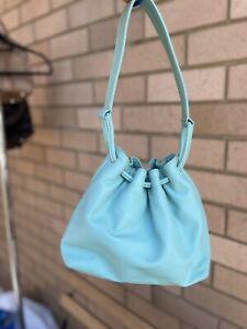 Marcs Real Leather Aqua/Light Blue Drawstring Top Handle Style Shoulder Hand Bag