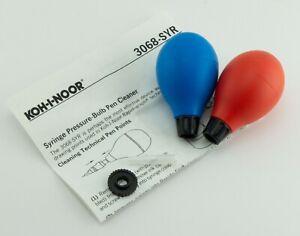Koh-I-Noor Pen Cleaning Syringe Pressure-Bulb (2) Cleaner Ink Starter Nib Key